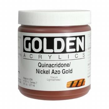Golden Heavy Body Acrylics, 8 oz Jars, Quinacridone/Nickel Azo Gold