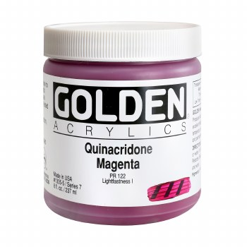 Golden Heavy Body Acrylics, 8 oz Jars, Quinacridone Magenta