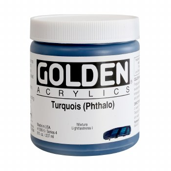 Golden Heavy Body Acrylics, 8 oz Jars, Turquoise (Pthalo)