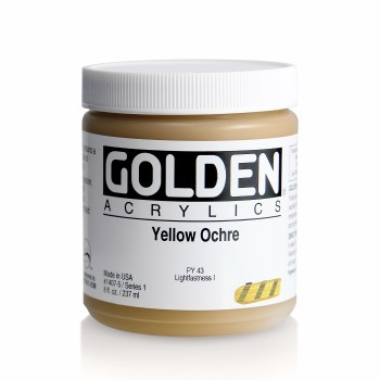 Golden Heavy Body Acrylics, 8 oz Jars, Yellow Ochre