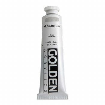 Golden Heavy Body Acrylics, 2 oz, Neutral Gray 8