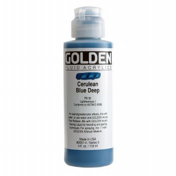 Golden Fluid Acrylics, 4 oz, Cerulean Blue Deep