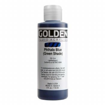 Golden Fluid Acrylics, 4 oz, Pthalo Blue (Green Shade)