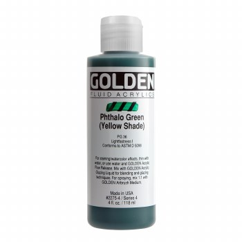 Golden Fluid Acrylics, 4 oz, Pthalo Green (Yellow Shade)