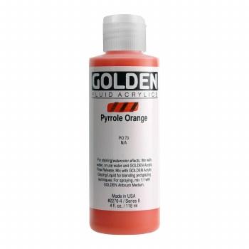 Golden Fluid Acrylics, 4 oz, Pyrrole Orange