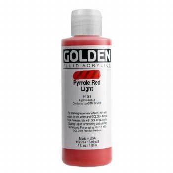 Golden Fluid Acrylics, 4 oz, Pyrrole Red Light