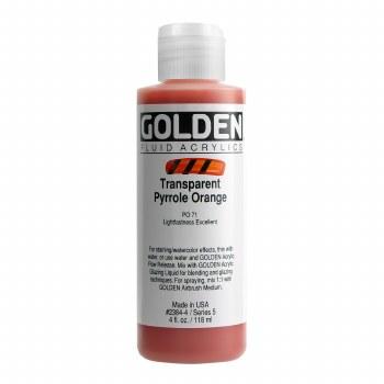 Golden Fluid Acrylics, 4 oz, Transparent Pyrrole Orange