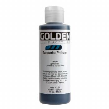 Golden Fluid Acrylics, 4 oz, Turquoise(Pthalo)