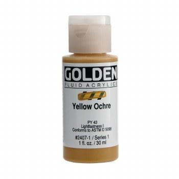 Golden Fluid Acrylics, 1 oz, Yellow Ochre