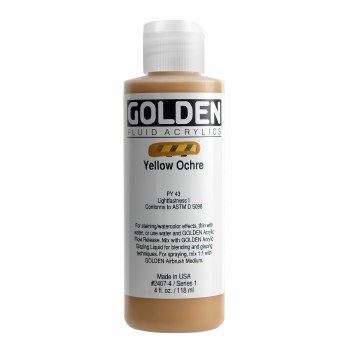 Golden Fluid Acrylics, 4 oz, Yellow Ochre