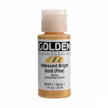 Golden Iridescent Fluid Acrylics, 1 oz, Iridescent Bright Gold