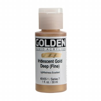 Golden Iridescent Fluid Acrylics, 1 oz, Iridescent Deep Gold