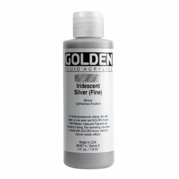 Golden Iridescent Fluid Acrylics, 4 oz, Iridescent Silver