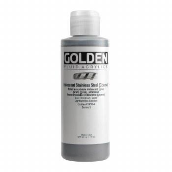 Golden Iridescent Fluid Acrylics, 4 oz, Iridescent Stainless Steel