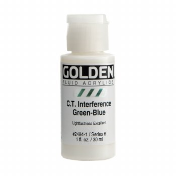 Golden Fluid Interference Colors, 1 oz, Interference Green-Blue