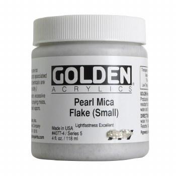 Golden Iridescent Acrylics, 4 oz Jars, Pearl Mica Flake Small