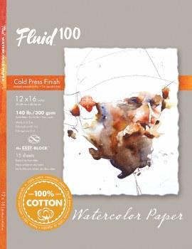 Fluid 100 Watercolor Paper Blocks, Cold Press, 12 in. x 16 in. - 140 lb., 15 Shts./Block
