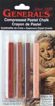 Compressed Pastel Chalk Sets, Earth & Flesh Tones Set