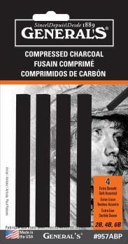 Compressed Charcoal Sets, Black (4/Pkg.)