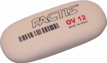 Factis Soft Oval Erasers, 12 Erasers/Box P.O.P. Display