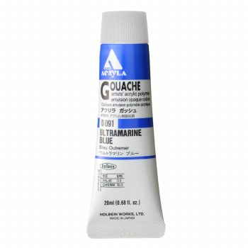 Acryla Gouache, 20ml Tubes, Ultramarine Blue