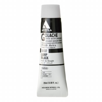 Acryla Gouache, 20ml Tubes, Lamp Black