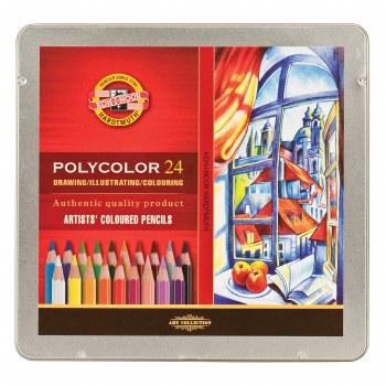 Polycolor Artists Colored Pencil Sets, 24-Color Set