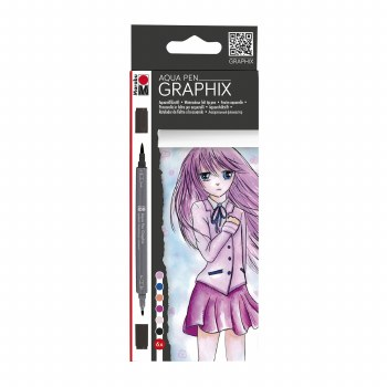 Graphix Aqua Pen Sets, Ma Ke Manga 6-Color Set