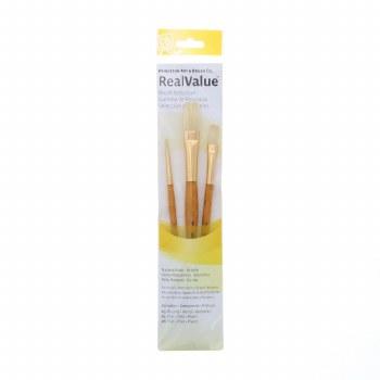 Real Value 3 Brush Bristle Brush Set - Round 3, Flat 4, 8