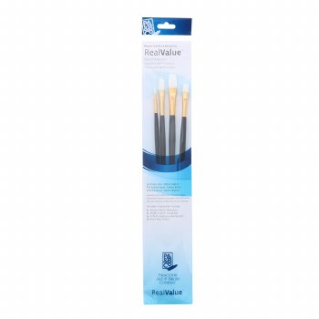 Real Value 4 Brush White Taklon Brush Set - Round 1, Bright 4, Filbert 4, Flat 6
