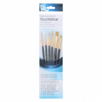 Real Value 6 Brush Golden Taklon Brush Set - Round 1, 3, 5, Filbert 4, Script 1, Wash 5/8