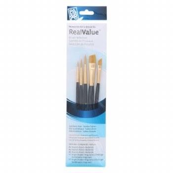 Real Value 5 Brush Golden Taklon Brush Set - Round 2, 4, 6, Angle Shader 1/4, 1/2 (LH)