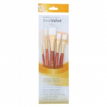 Real Value 5-Brush White Taklon Brush Set - Round 8, Liner 2, Angle Shader 1/2, Wash 1/2, 3/4