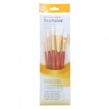 Real Value 5-Brush White Taklon Brush Set - Round 2,8,12, Stroke 3/4, Wash 1/2