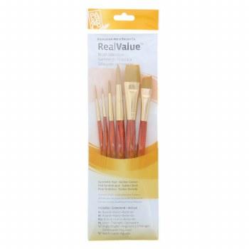 Real Value 6-Brush Golden Taklon Brush Set - Round 1,6,12, Liner 2, Angle Shader 1/2, Wash 3/4
