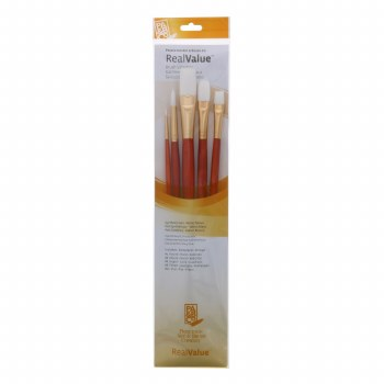 Real Value 5 Brush White Taklon Brush Set - Round 1, 6, Bright 6, Filbert 8, Flat 12 (LH)