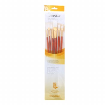 Real Value 6-Brush White Taklon Brush Set - Round 2, 6 Flat 10, Angle Shader 4, Filbert, 4 Fan 2