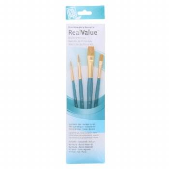 Real Value 4 Brush Golden Taklon Brush Set - Round 1, 4, Wash 1/4, Flat 1/2