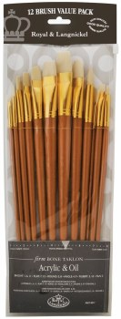 Zip N Close 12-Brush Sets, Bone Taklon, 12-Brush Set - Flat, Long Handle