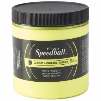 Permanent Acrylic Screen Printing Inks, 8 oz. Jars, Fluorescent Yellow