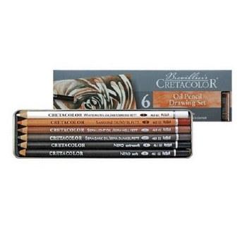 Cretacolor Oil Pencil Tin, 6 Set
