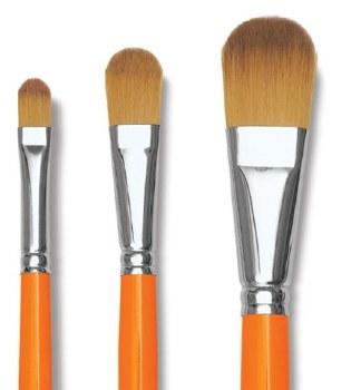 Golden Kaerell Long Handle Brushes, Filbert 18