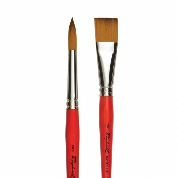 Golden Kaerell Short Handle Brushes, Flats, 2