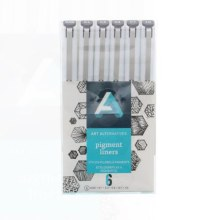 Pigment Liner Sets, 6-Pen Set - .1, .3, .5, .7, 1, Brush - Black