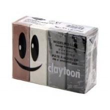 Claytoon Clay Sets, Neutral Set - Black, Brown, Silver Gray, White