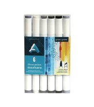 Illustration Marker Sets, 6-Marker Set - Gray Tones