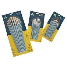 Economy Brush Sets, Synthetic Short Handle Set - Assorted Shapes - 12 Brushes