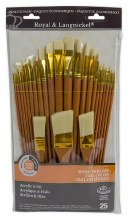 Royal Brush Zip N' Close Firm Bone Taklon Paint Brush Set of 25