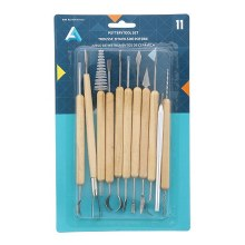 11-Piece Pottery Tool Set, Wood Handles & Steel Tips