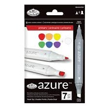 Azure Alcohol Markers Primary Set of 7